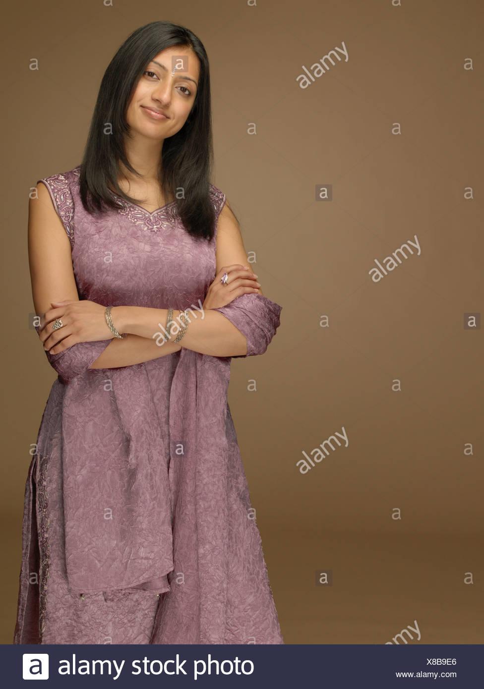 Woman wearing a sari - Stock Image