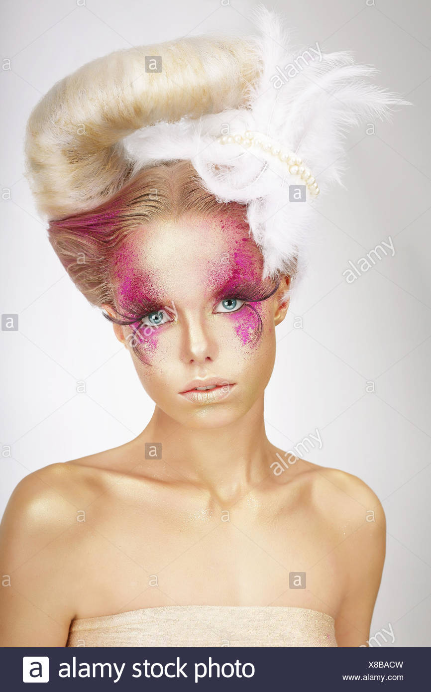 f4638db9f99 Faceart. Blonde with Skin Colored Pink, False Lashes and White ...