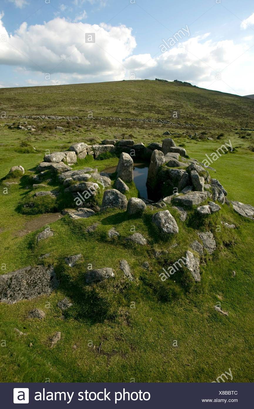 Great Britain, England, Devon, Dartmoor National Park, remains of Bronze Age human settlement of Grimspound - Stock Image