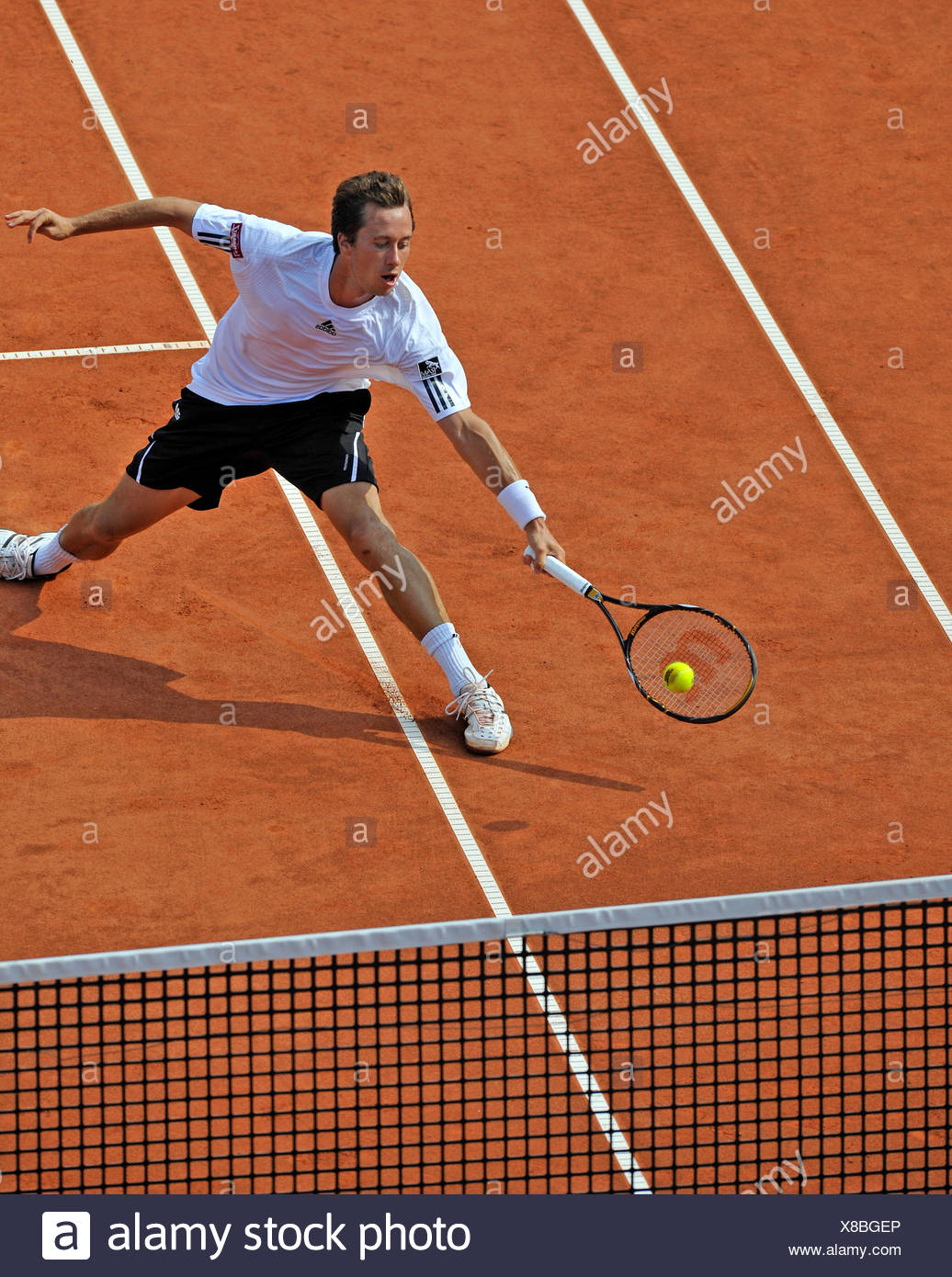 Philipp Kohlschreiber, Germany, attacking near the net, Mercedes Cup Stuttgart 2009, Baden-Wuerttemberg, Germany, Europe - Stock Image