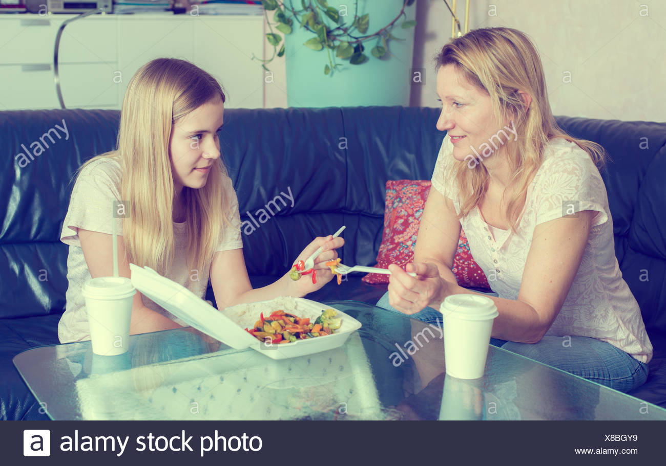 Chinese Family Dinner And Teenager Stock Photos & Chinese
