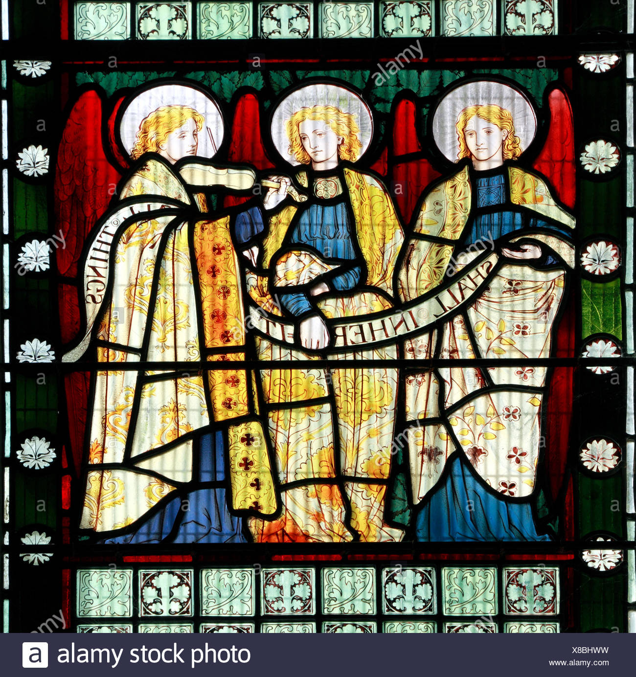 Angels stained glass by Henry Holiday, Holliday, 1873, pre-Raphaelite style, Stanhoe, Norfolk England UK - Stock Image