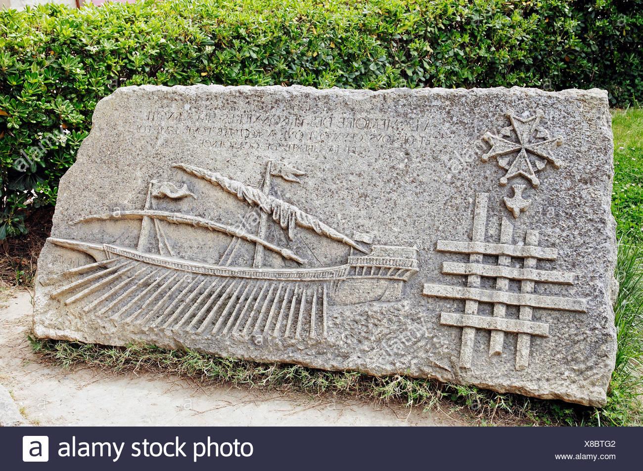 Commemorative plaque, Aigues-Mortes, Camargue, Gard, Languedoc-Roussillon, France - Stock Image