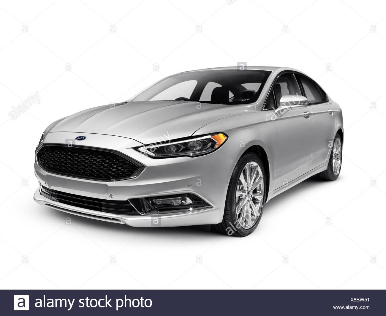 Ford Fusion mid-size silver sedan, car, 2017 - Stock Image