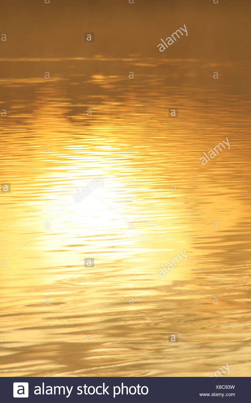 morning sun reflecting off a lake - Stock Image