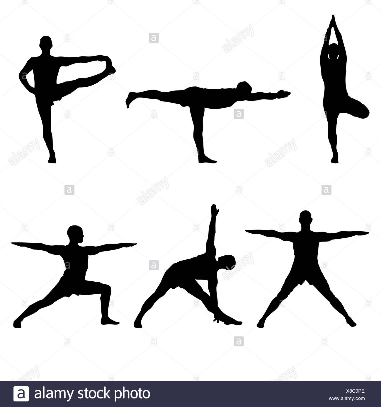 six yoga standing poses - Stock Image