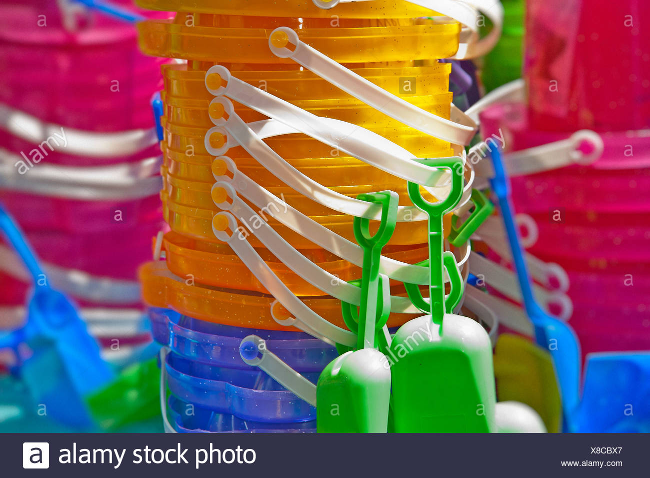 Kids toy pail and shovel. - Stock Image