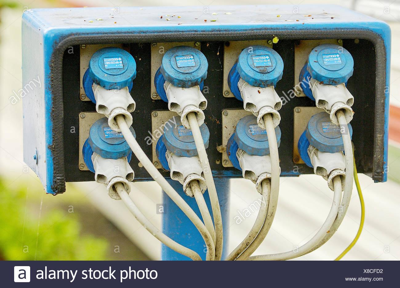 Plugs at camp site. Camping Fusina, Venezia. Veneto, Italy Stock Photo