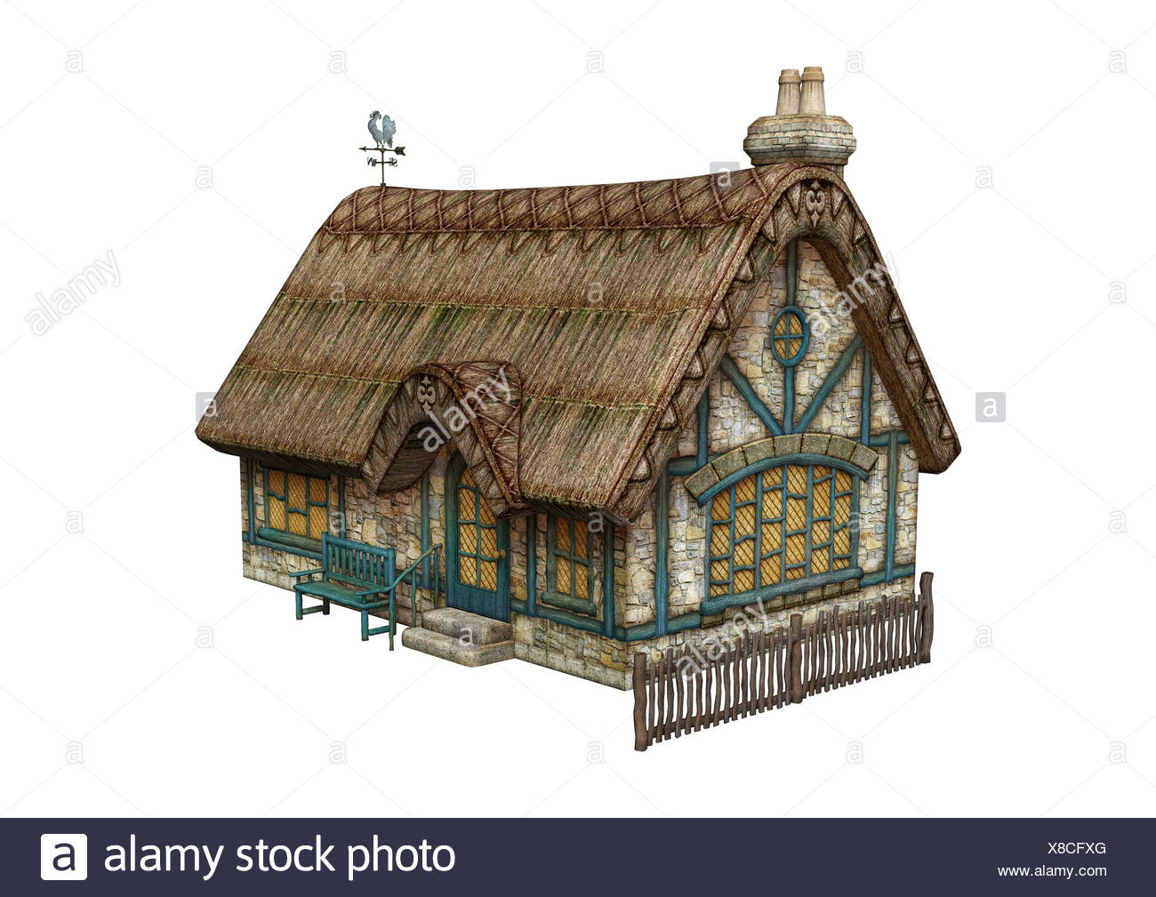3D digital render of a fairytale cottage isolated on white background - Stock Image