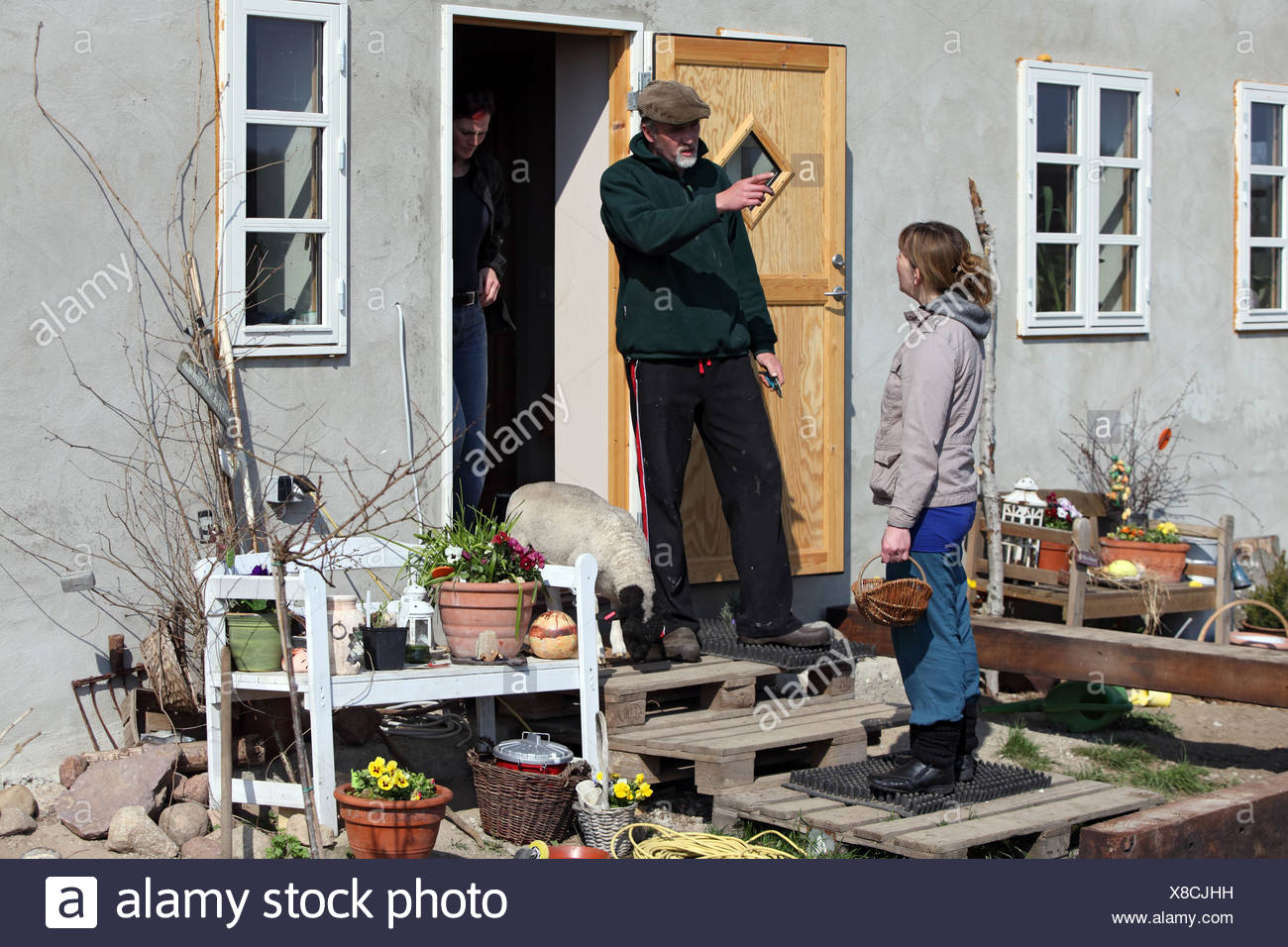 New Kätwin, Germany, man recalls a woman from his plot - Stock Image