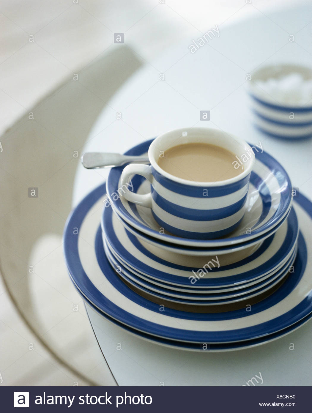 Close-up of blue+white striped Cornish-ware cup on stack of matching & Cornish Ware Stock Photos u0026 Cornish Ware Stock Images - Alamy