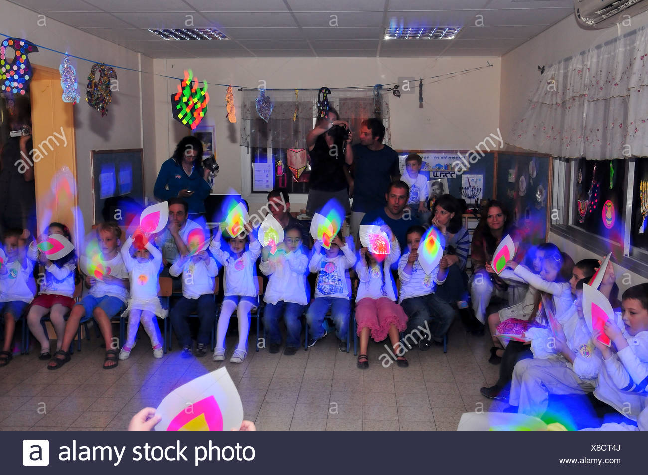 Hannukah celebration in a kindergarten in Israel - Stock Image