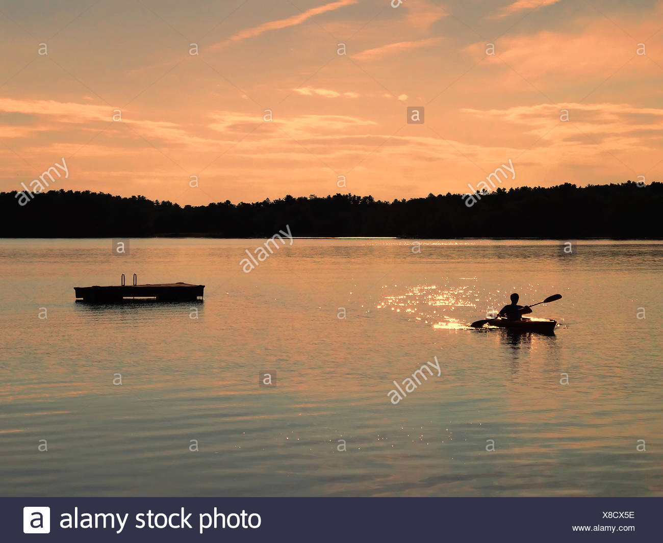 USA, New York State, Sullivan, Kayaking at sunset Stock Photo