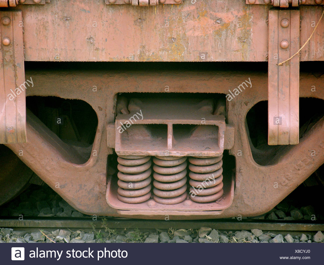 Shock absorbers of a goods transports train, Pune, Maharashtra, India. - Stock Image