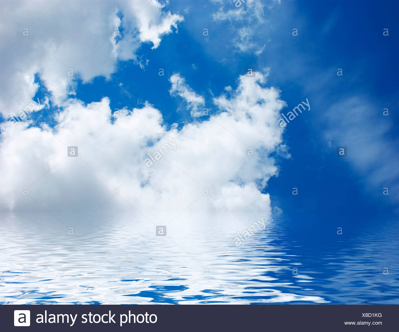 Blue sky with rippled water - Stock Image