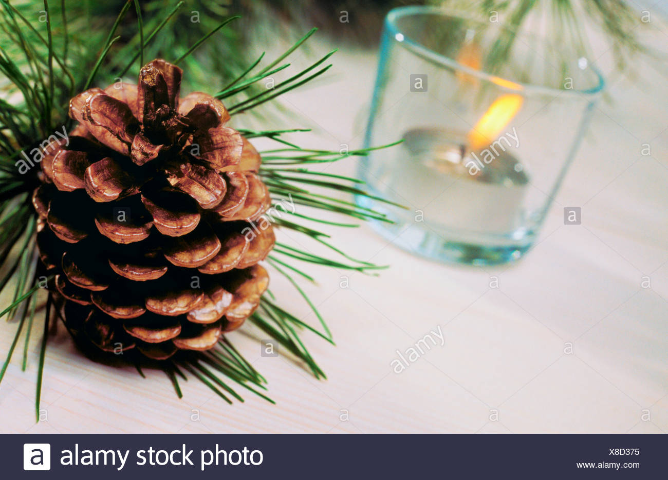 Titled view of a pinecone and a tea candle inside a glass - Stock Image