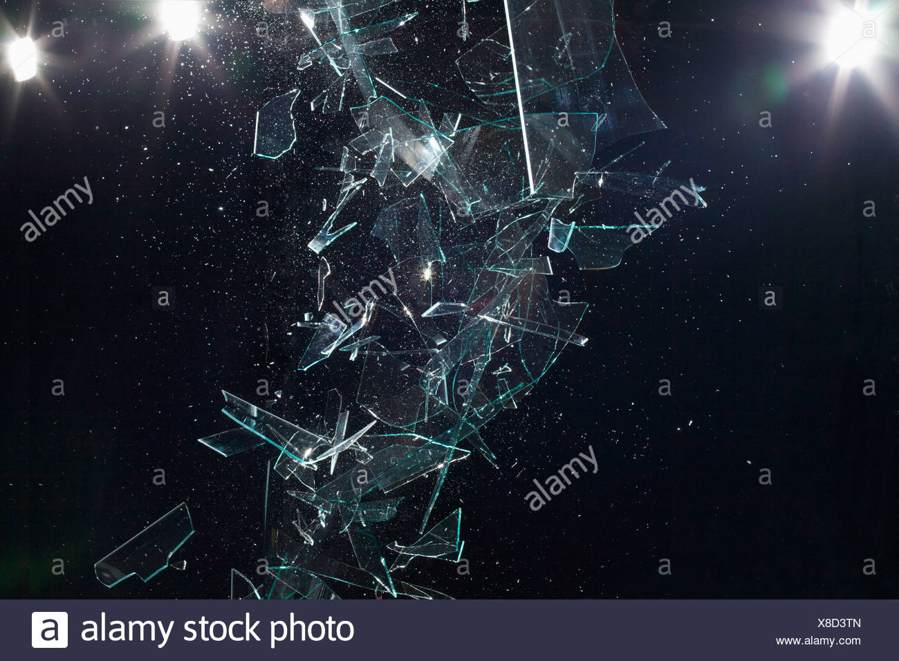 Shattered glass mid-air - Stock Image