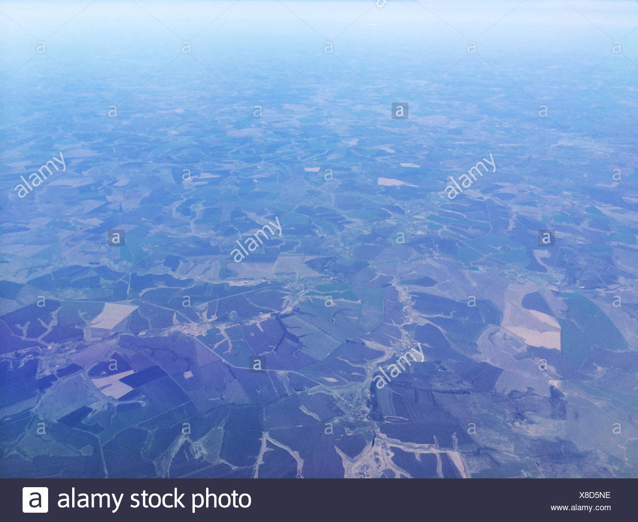 Aerial view of agricultural fields - Stock Image