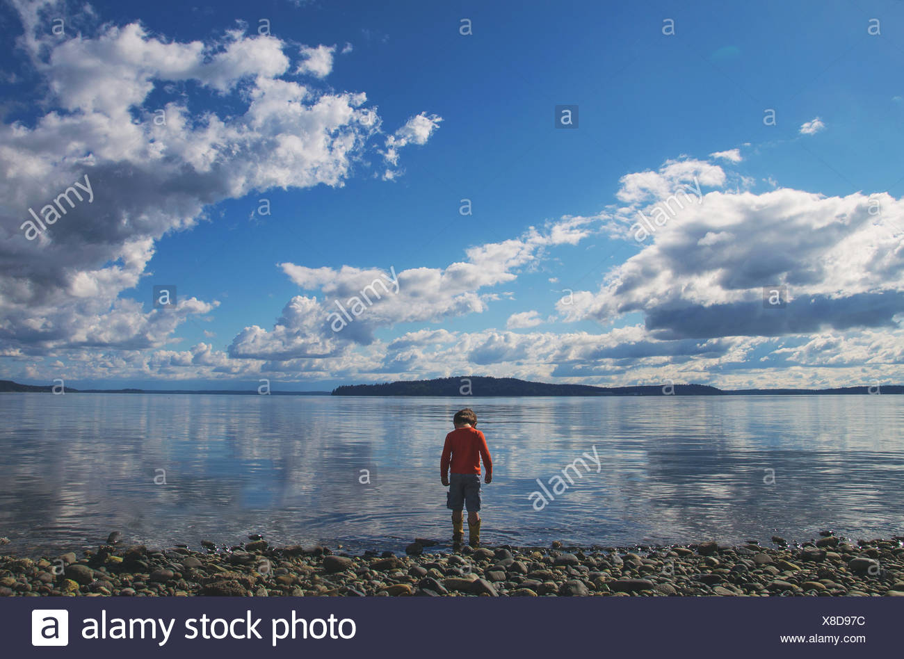 Rear view of boy standing at the water's edge - Stock Image