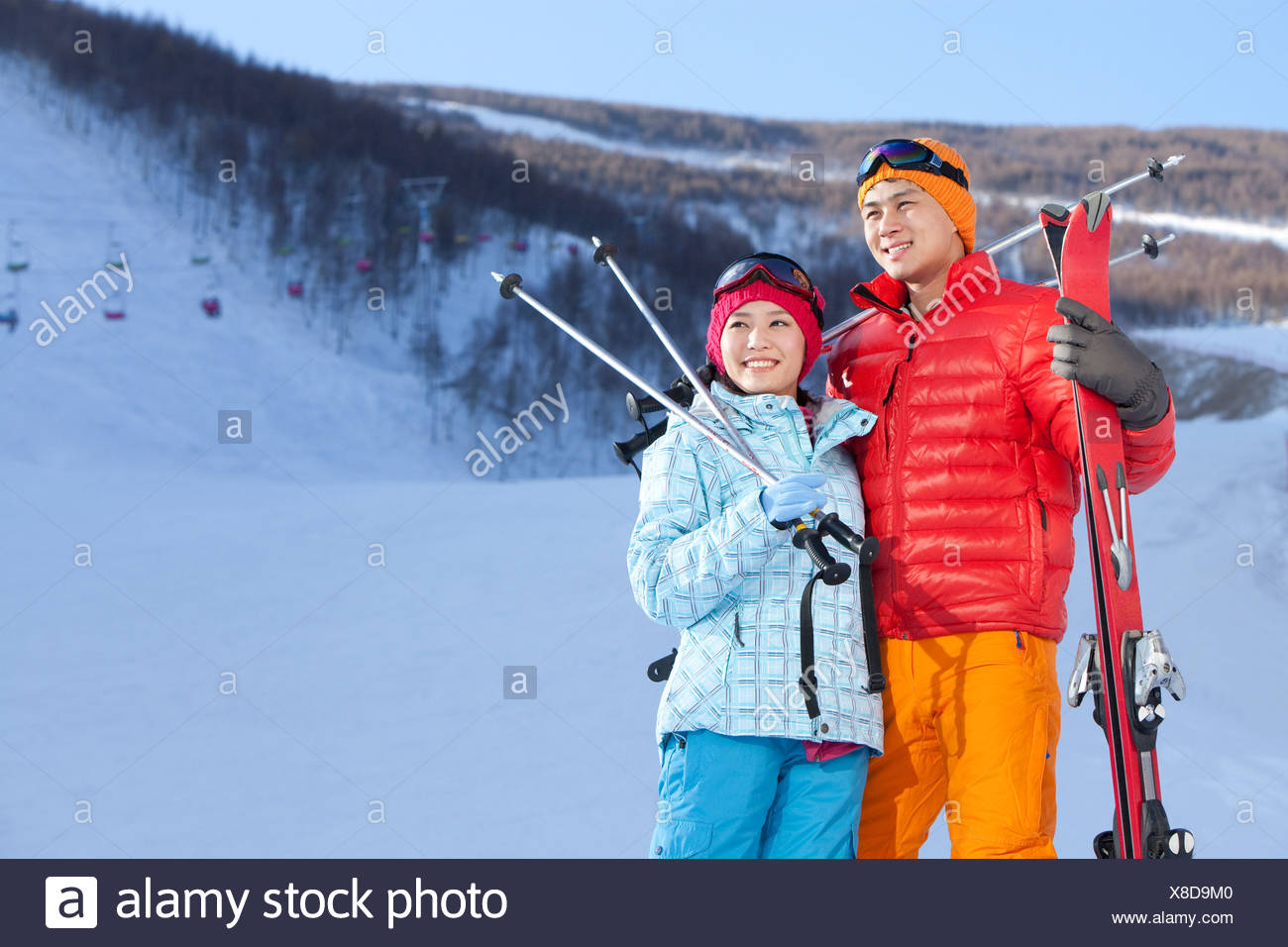 Young couple in ski resort - Stock Image