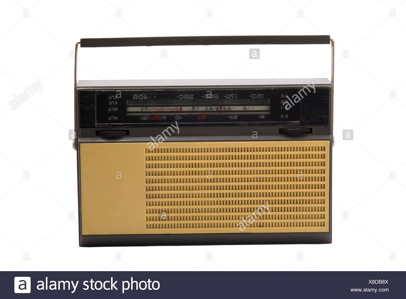 Old-fashioned transistor radio receiver - Stock Image