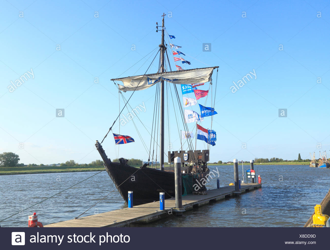 Kamper Kogge, 14th century Hanseatic trading ship, replica, Kings Lynn, Norfolk England UK medieval ships boat boats - Stock Image