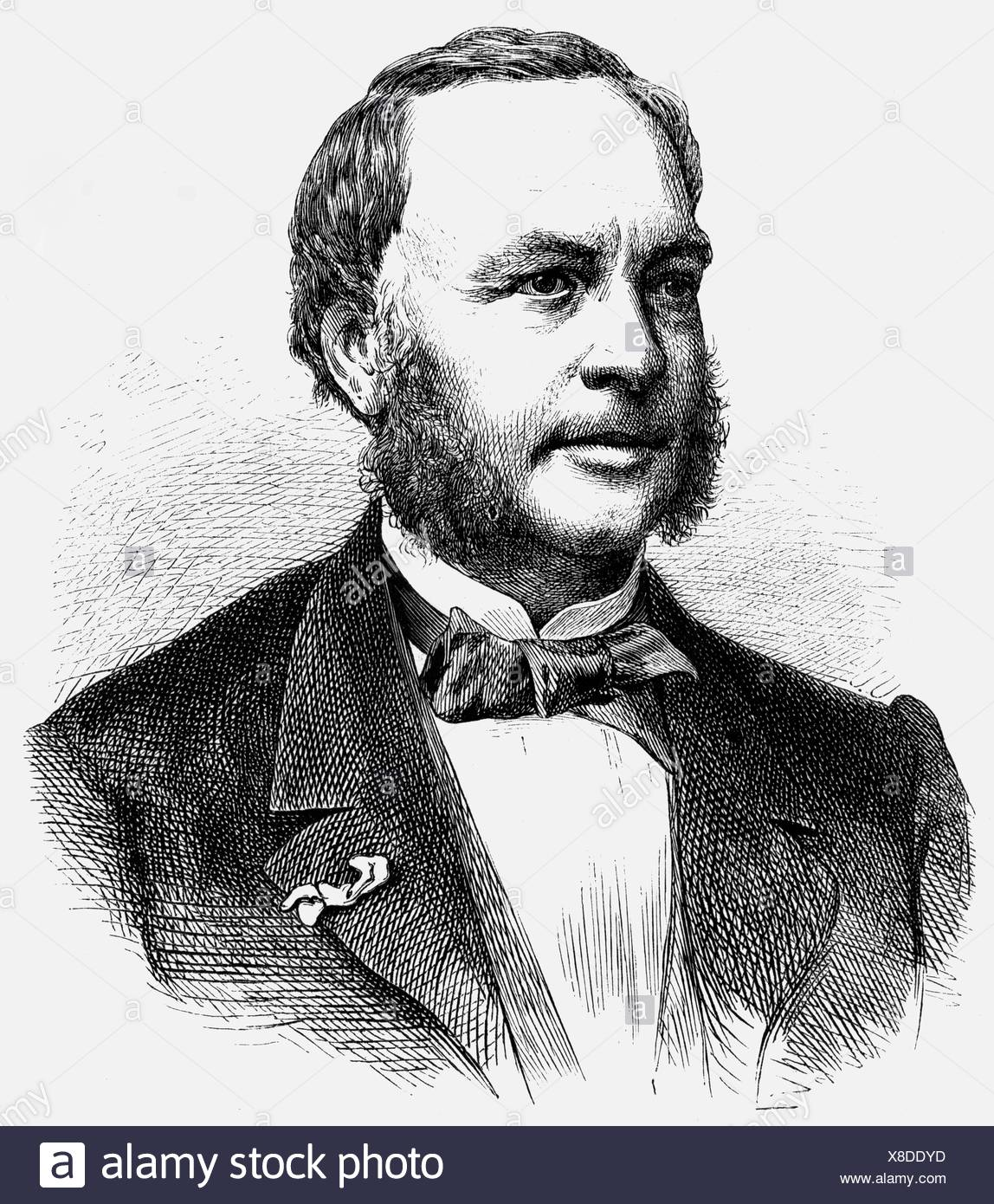 Hachette, Louis, 5.5.1800 - 31.7.1864, French bookseller, publisher, founder of Hachette S.A., Librairie, portrait, wood engraving after photo, Additional-Rights-Clearances-NA Stock Photo