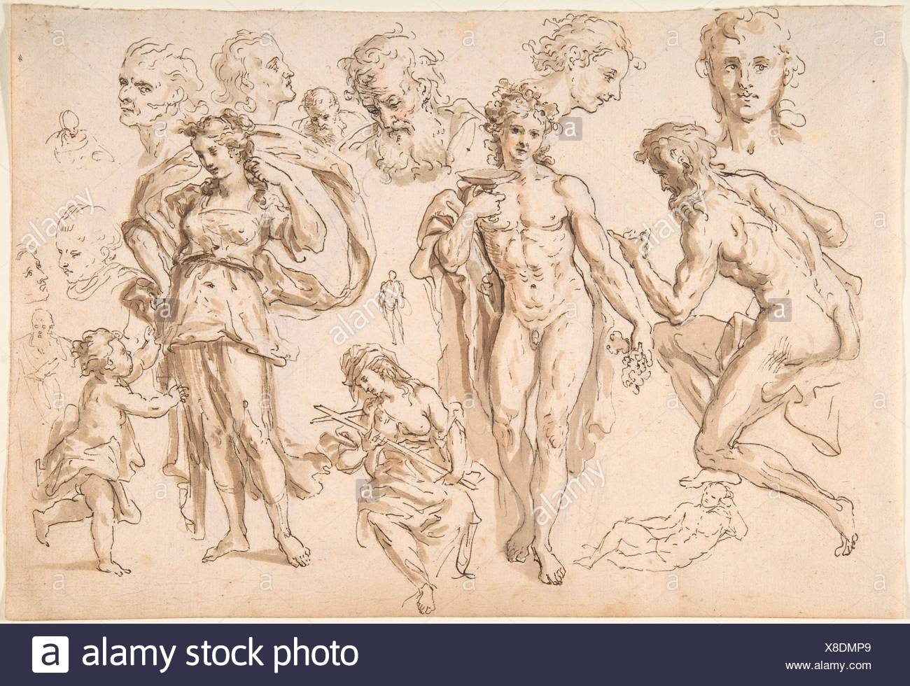 Recto: figure and head-studies (including Bacchus); Verso: four main figure studies repeated from the recto. Artist: Bartholomaeus Ignaz Weiss - Stock Image