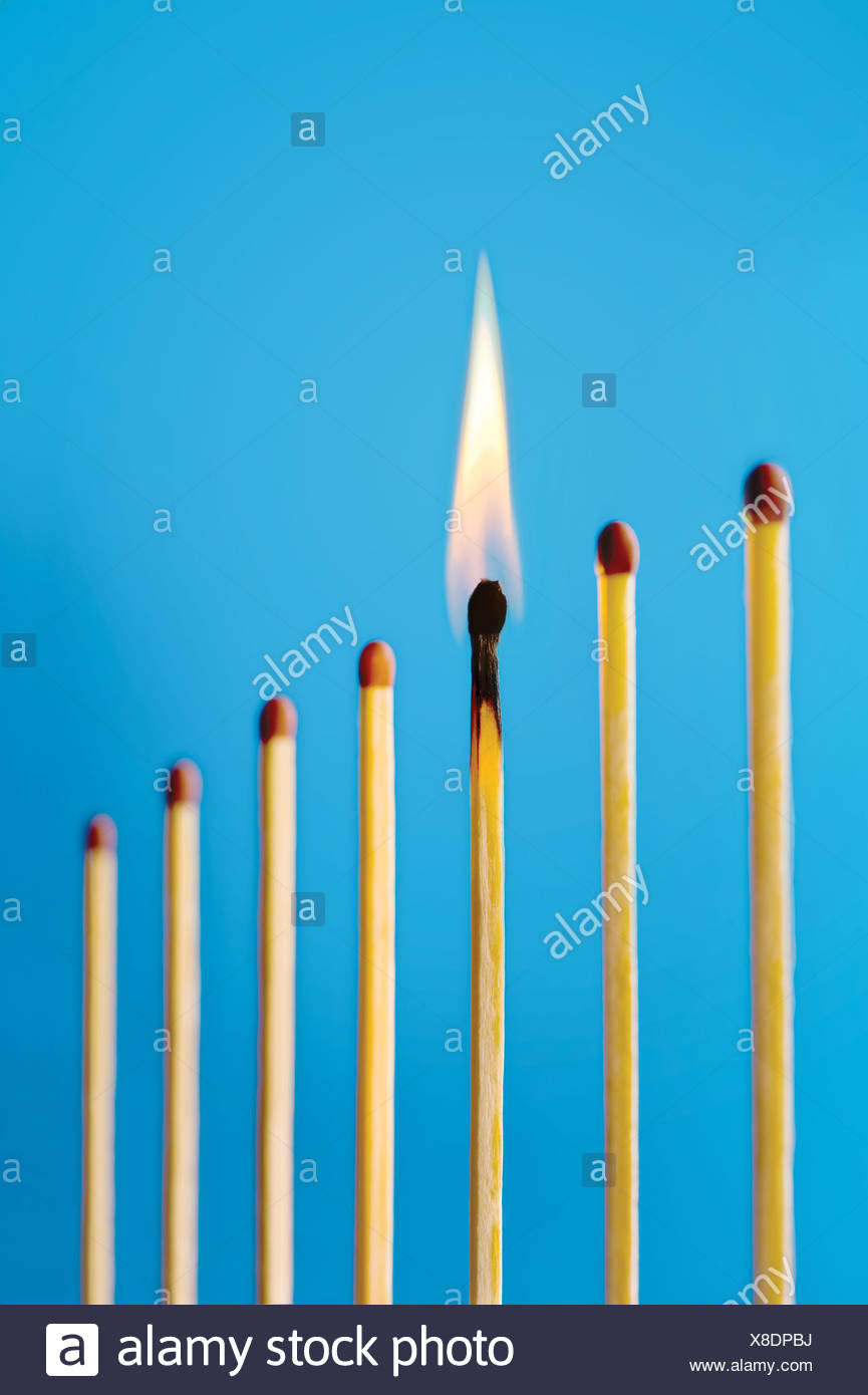 A burning match in a row of unlit matches Stock Photo