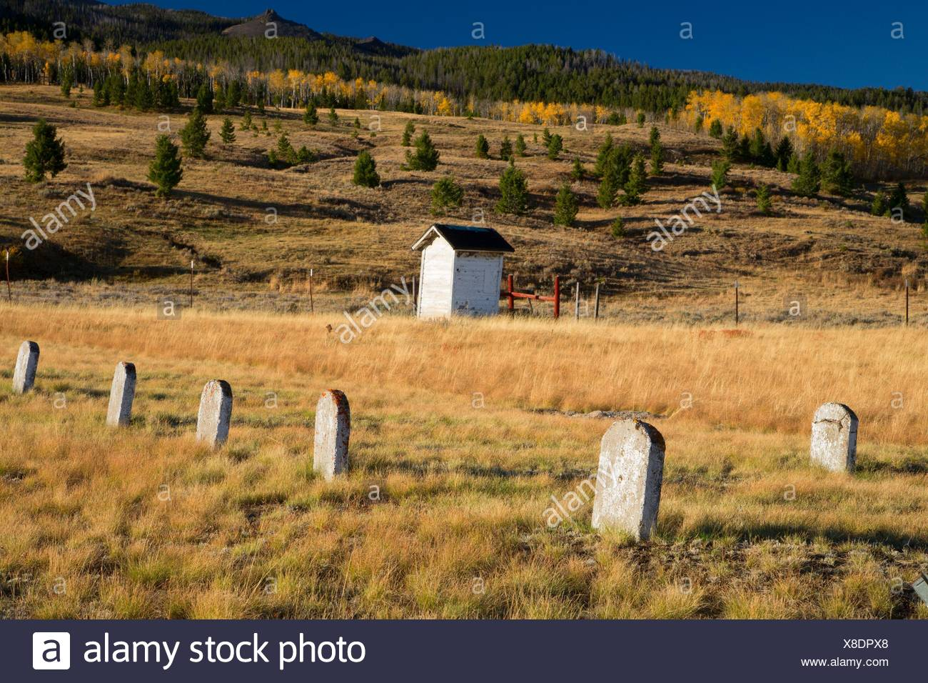 Lakeview Cemetery in Centennial Valley, Beaverhead County, Montana. - Stock Image