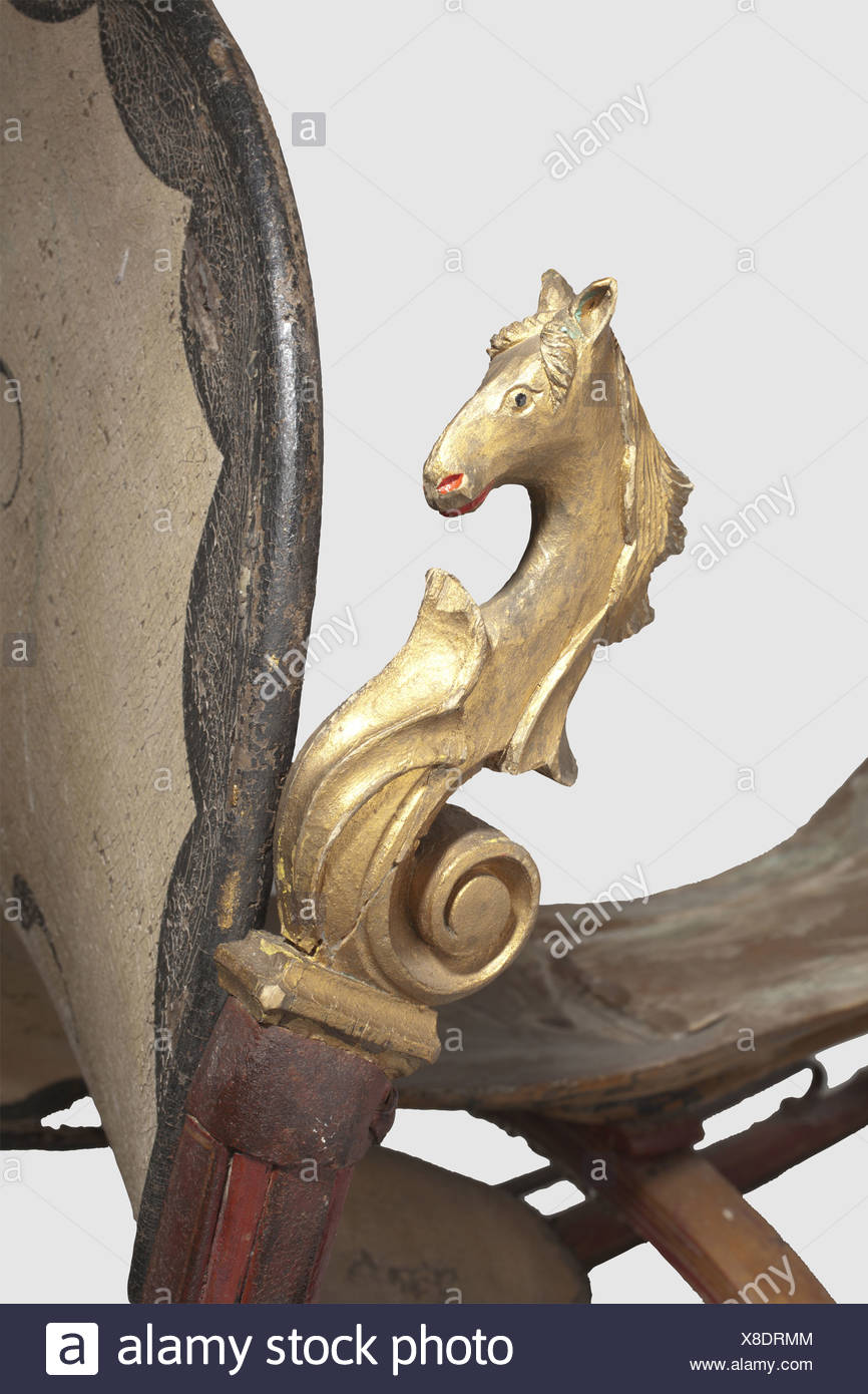 "A German horse-drawn sleigh, mid 19th century Light wooden sleigh with iron fittings. The high curved runners are crowned with a carved horse's head in full relief. Leather harness painted in colour with the monogram ""JK"". Wooden seat. Height 109 cm. Length 132 cm, historic, historical, 19th century, hunt, hunts, hunting, utensil, piece of equipment, utensils, trophies, object, objects, stills, clipping, clippings, cut out, cut-out, cut-outs, Additional-Rights-Clearences-NA Stock Photo"