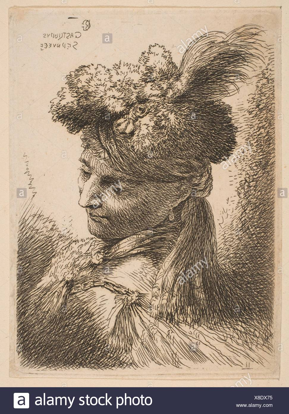 Young Man Facing Three Quarters Right Wearing a Fur Headdress With a Plume, Jewel and a Headband. Artist: Giovanni Benedetto Castiglione (Il - Stock Image