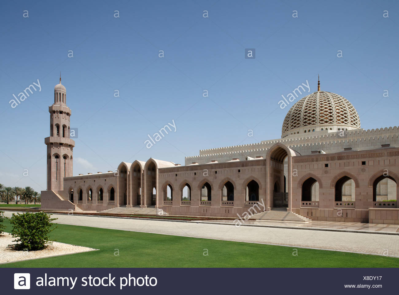 Minaret, dome, lawn, Sultan Qaboos Grand Mosque, Muscat capital, Sultanate of Oman, gulf states, Arabic Peninsula, Middle East - Stock Image