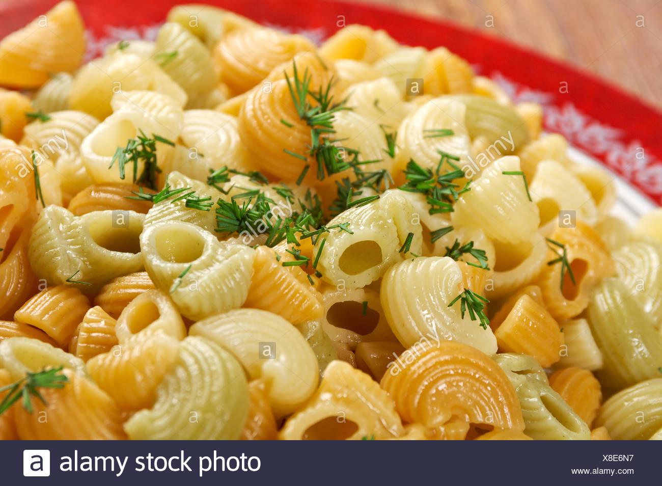 Colorful Italian conchiglie  pasta Stock Photo