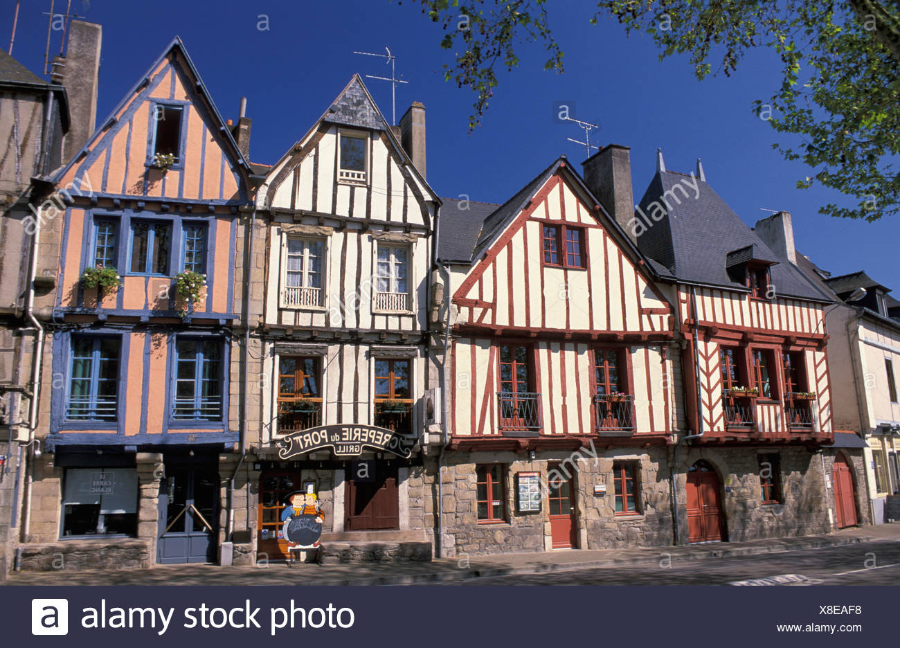 Wood framed, half timbered, houses, Le Port, Vannes, Brittany, Bretagne, France, Europe, facade - Stock Image
