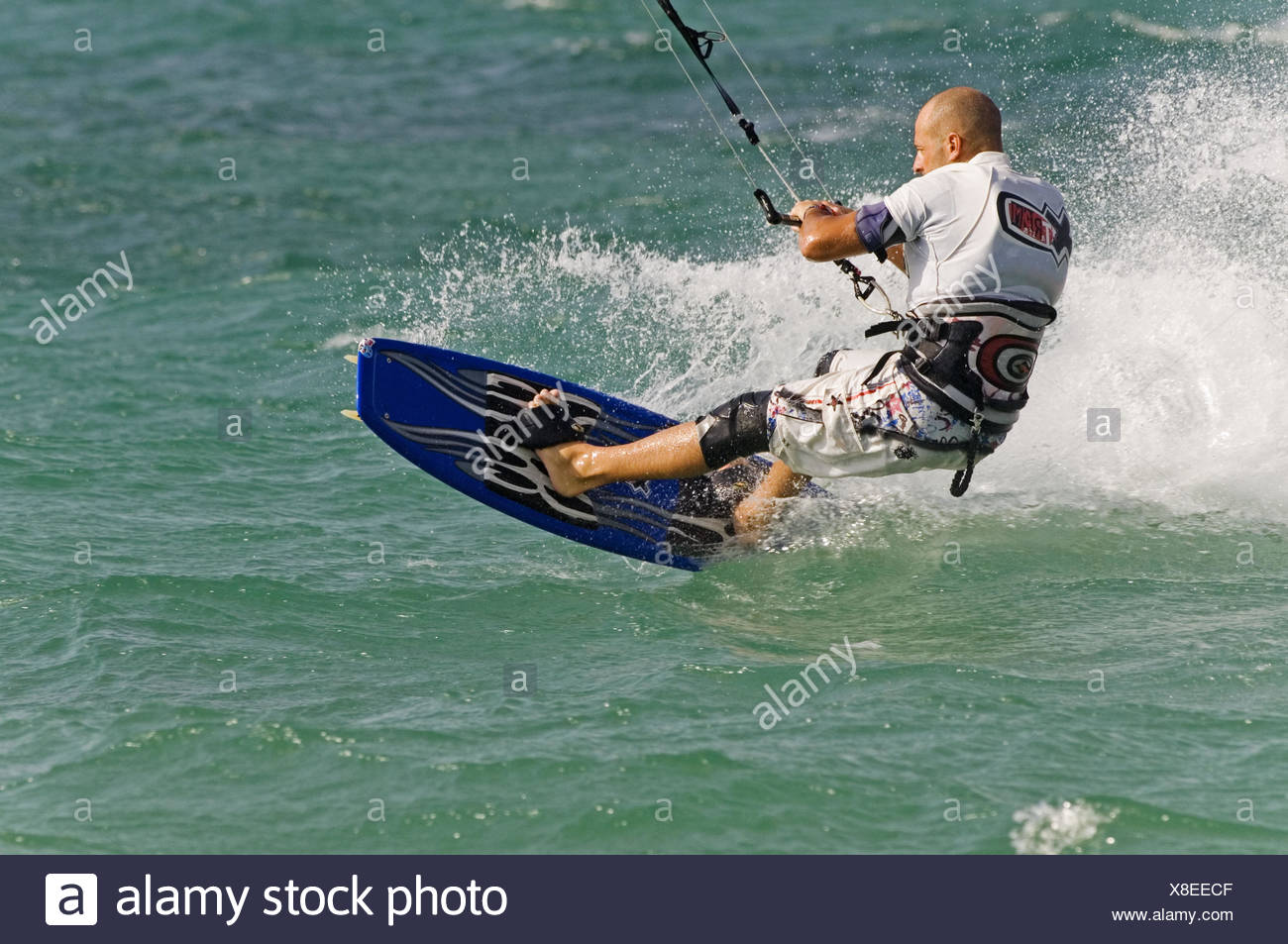 kite surfing in tarifa - Stock Image