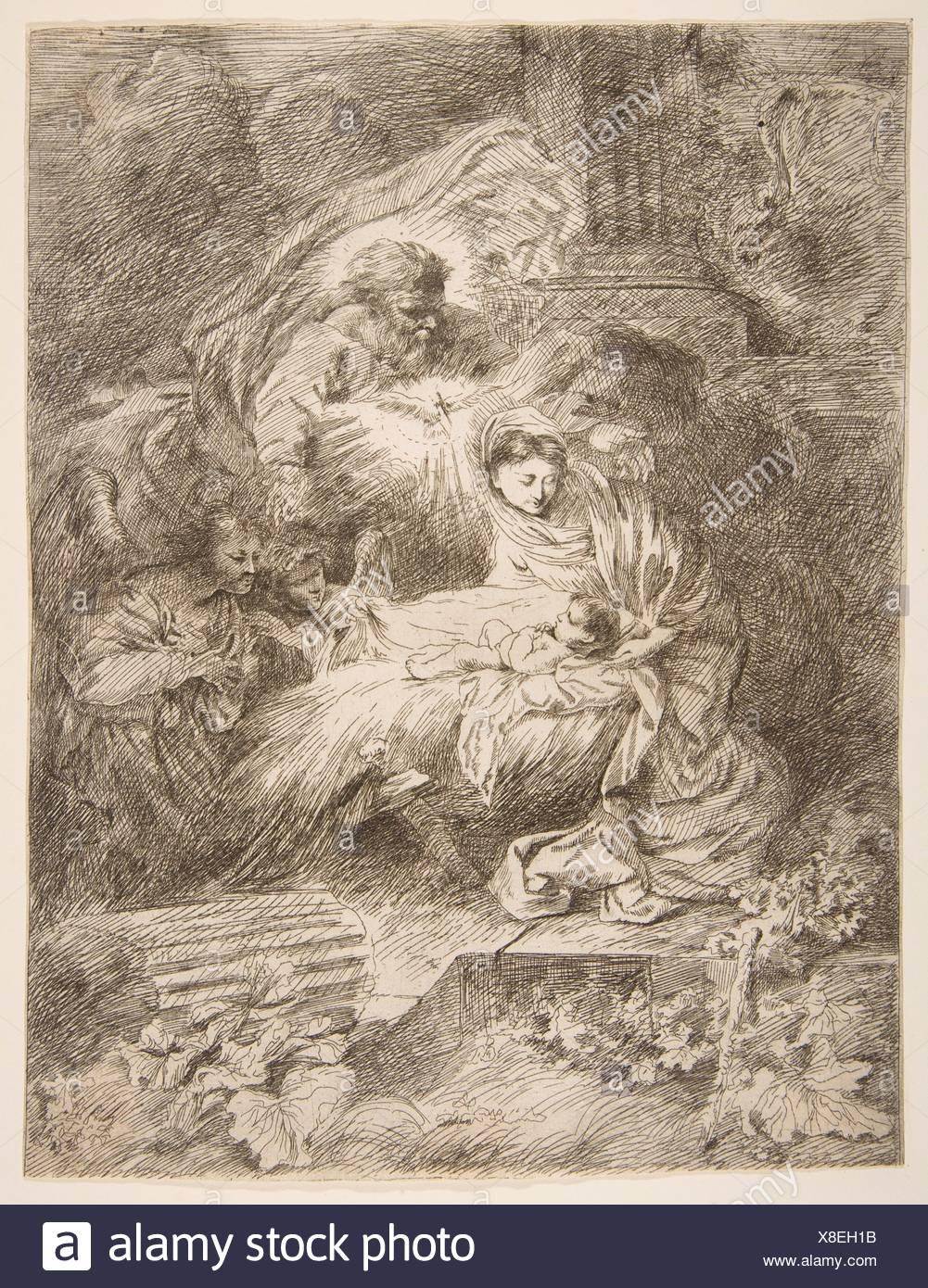 God the Father observing the Virgin and Child, angels to the right. Artist: Giovanni Benedetto Castiglione (Il Grechetto) (Italian, Genoa 1609-1664 - Stock Image