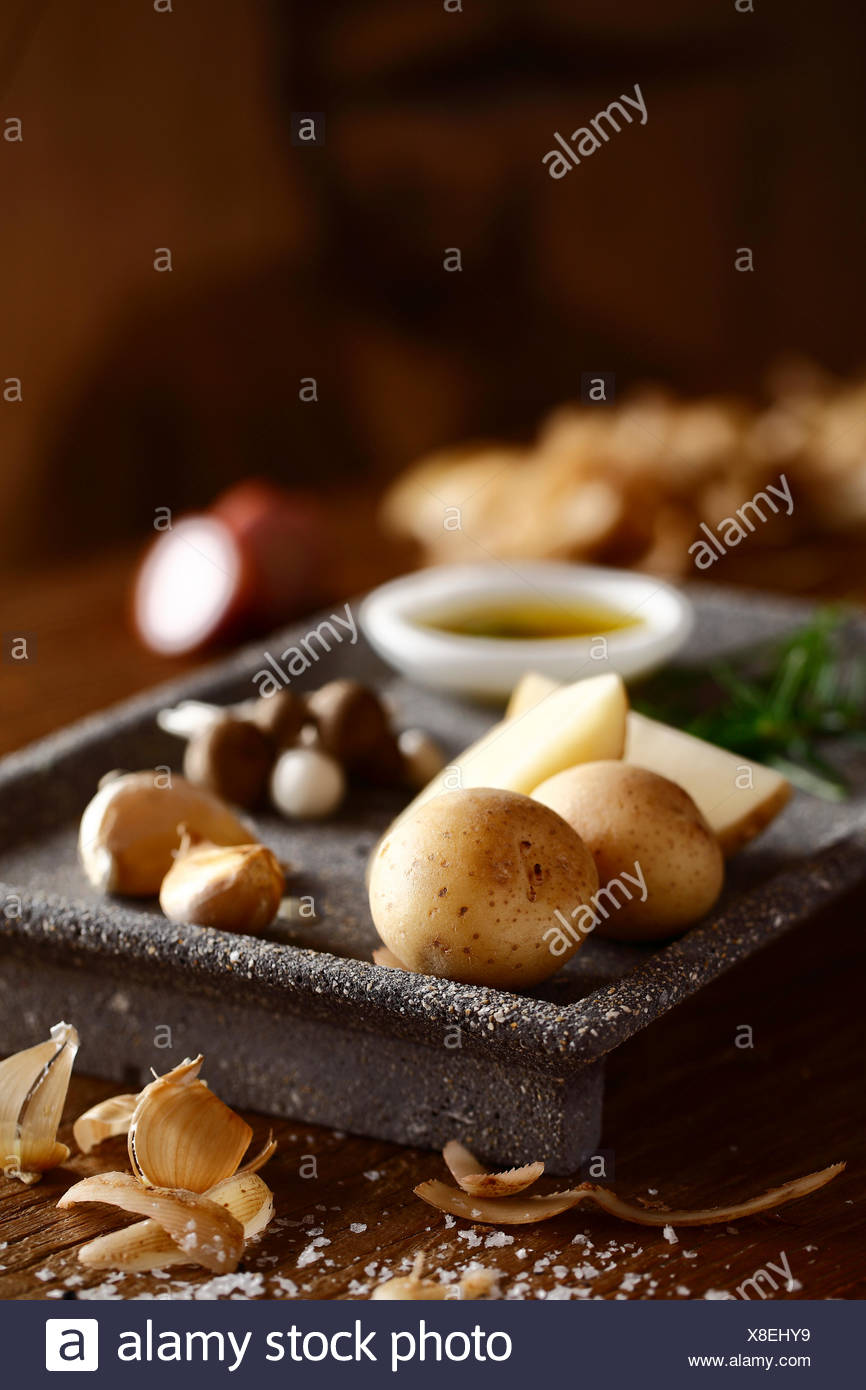 Potatoes and garlic - Stock Image