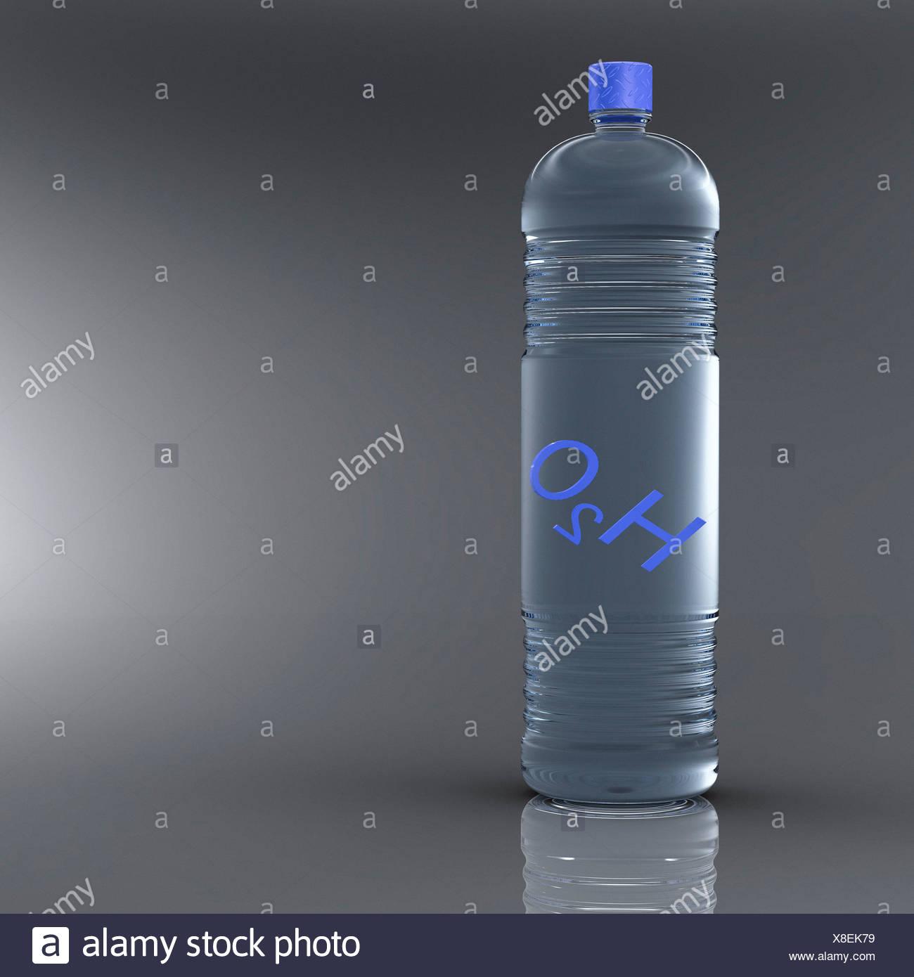 Bottle water, artwork - Stock Image