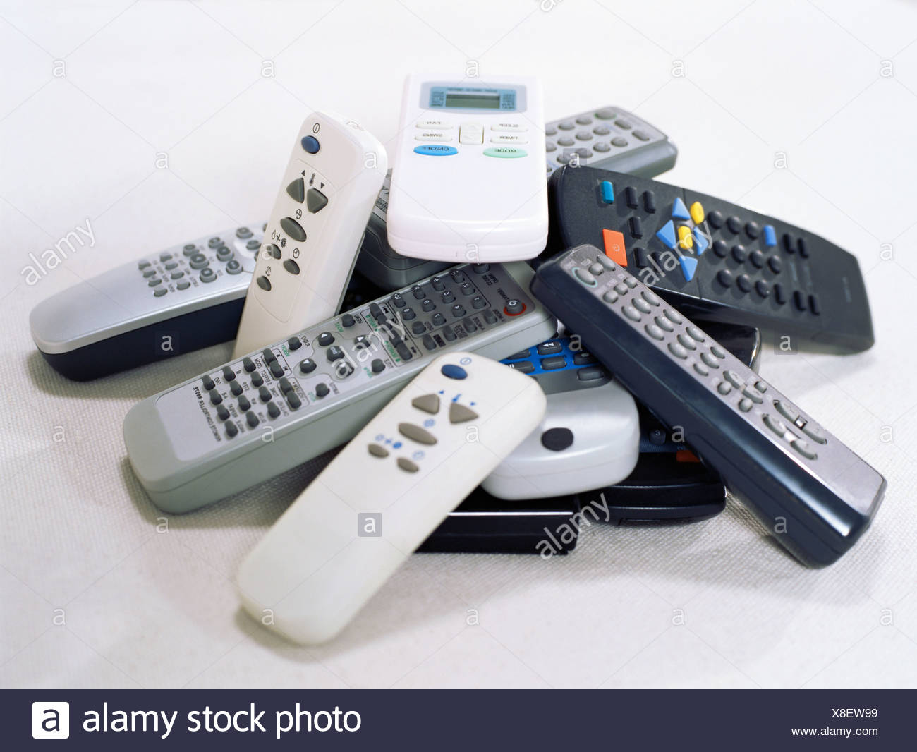 Stack of remote controls - Stock Image
