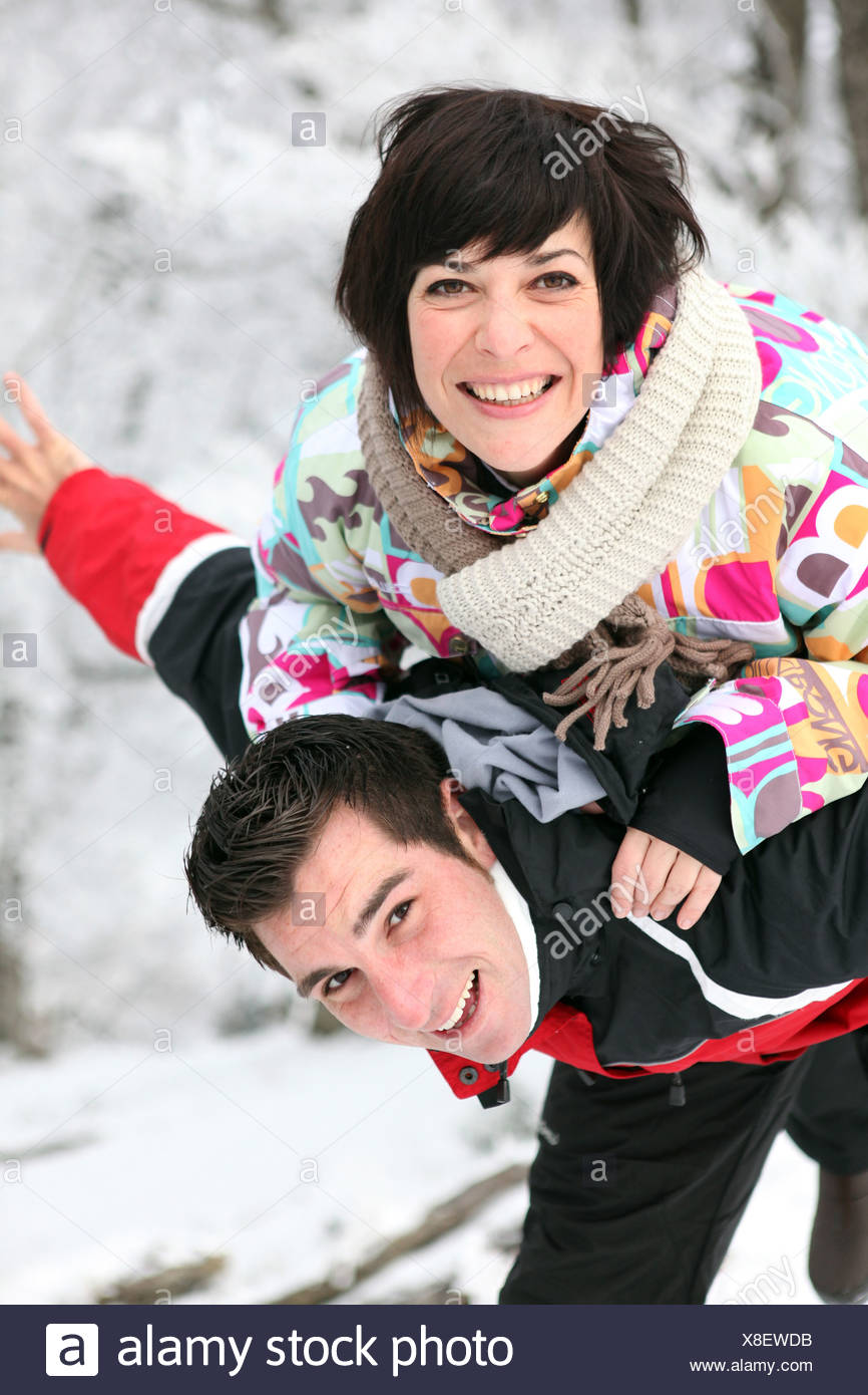 couple on a winter vacation - Stock Image