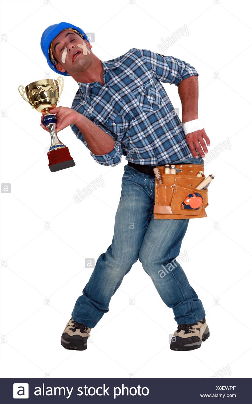 blue, accident, broken, bone, better, builder, guy, cup, blue, game, - Stock Image