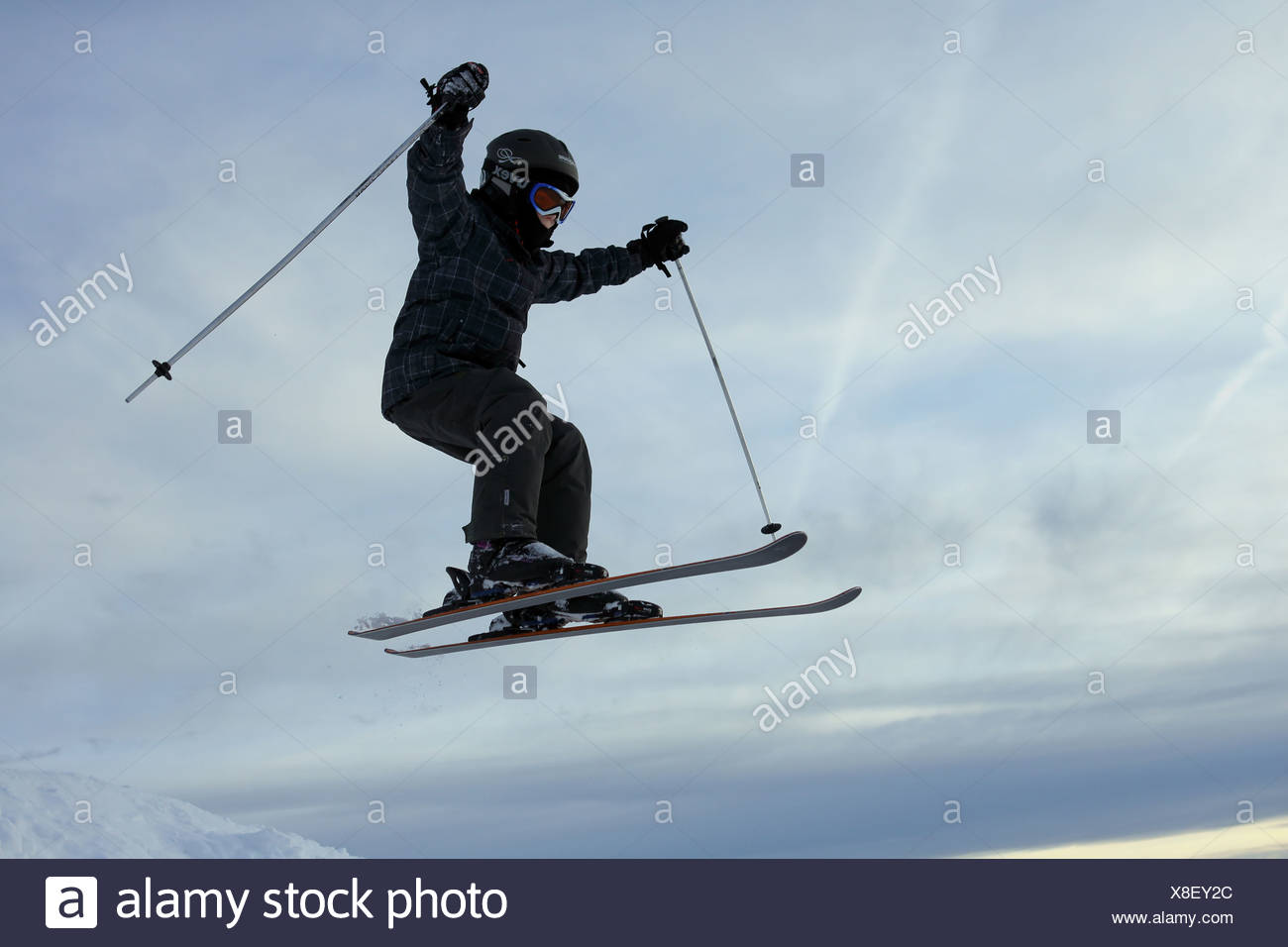 Kitzbuehel, Austria, boy goes skiing - Stock Image