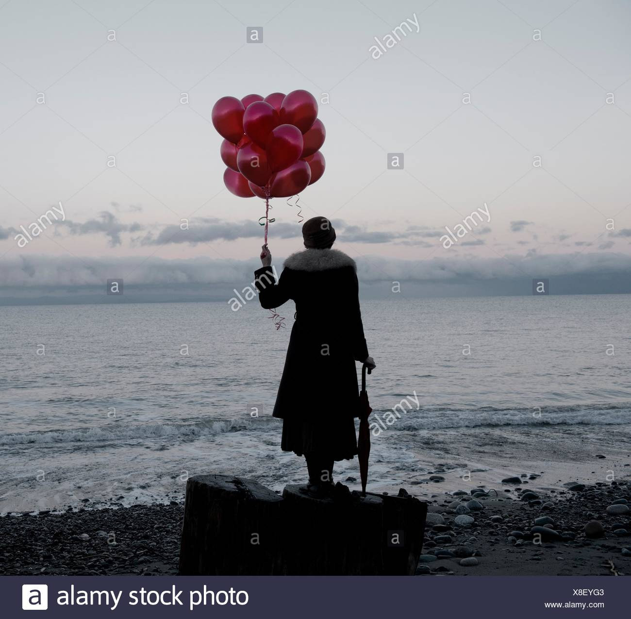 Woman holding bunch of red balloons standing large driftwood tree stump on beach Stock Photo