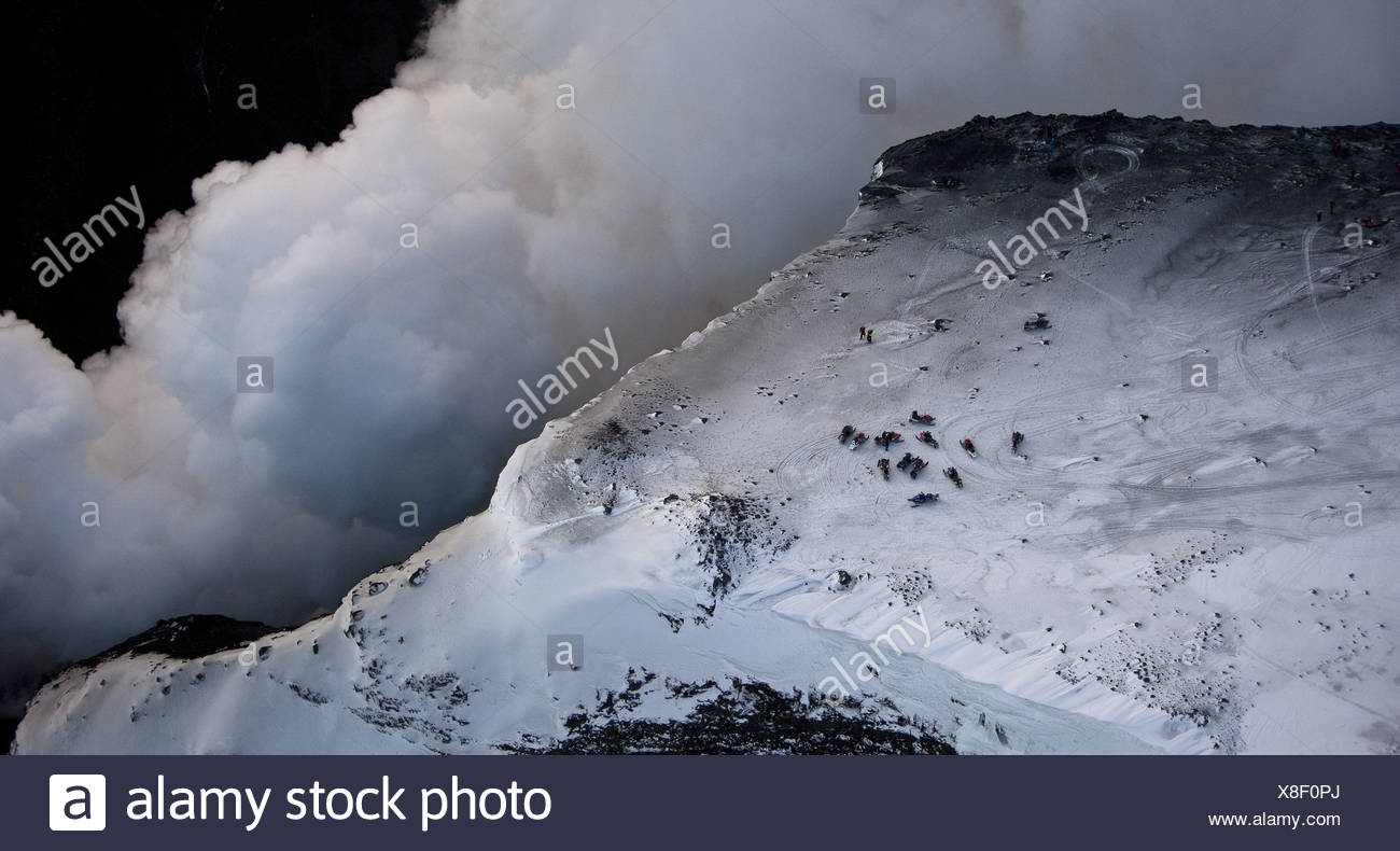 Steam and Lava- volcano eruption in Iceland at Fimmvorduhals, a ridge between Eyjafjallajokull glacier and Myrdalsjokull glacier - Stock Image