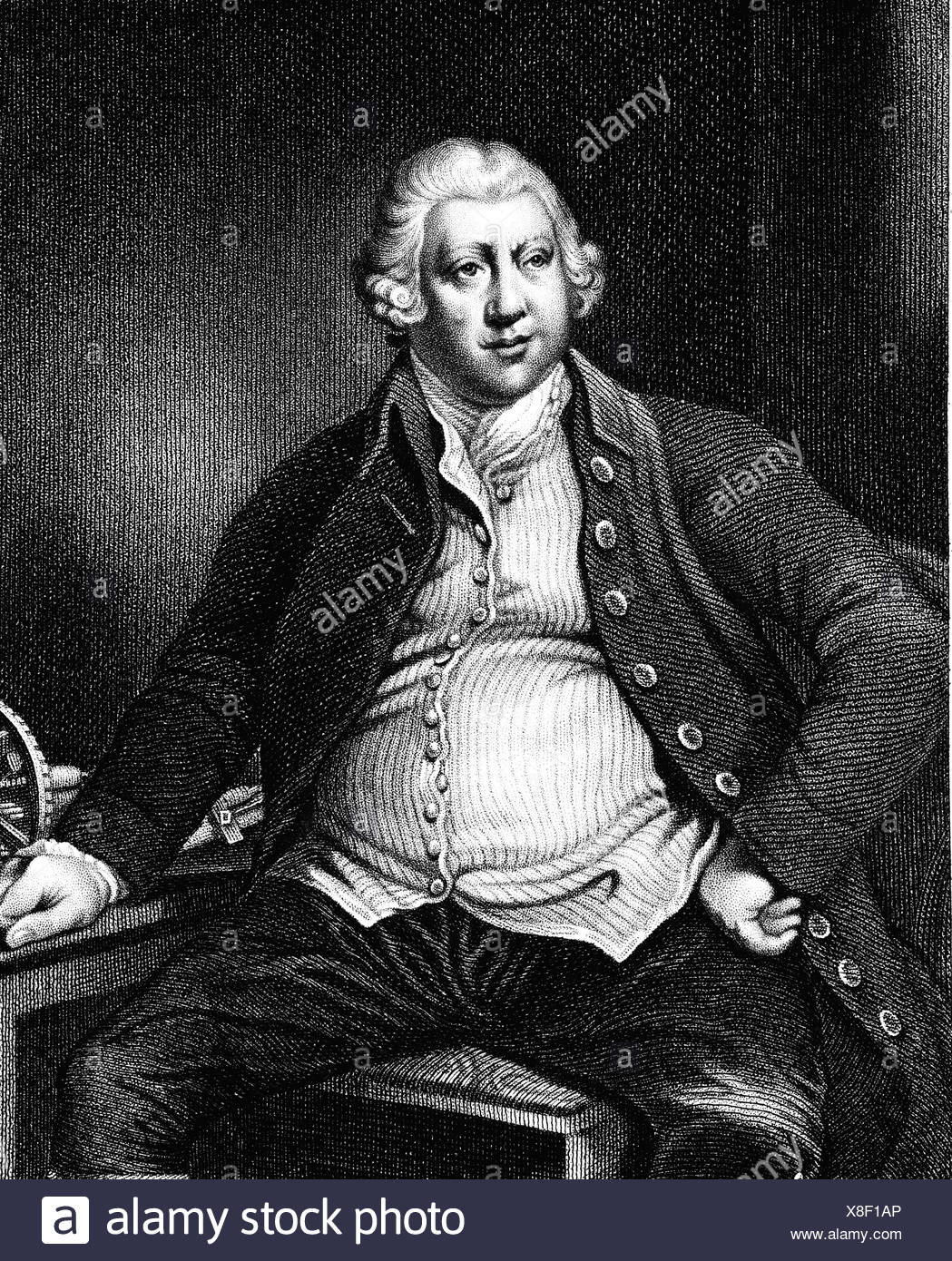 Arkwright, Richard, Sir, 23.12.1732 - 3.8.1792, British inventor and businessman, half length, steel engraving by Nordheim, before 1840, Artist's Copyright has not to be cleared - Stock Image