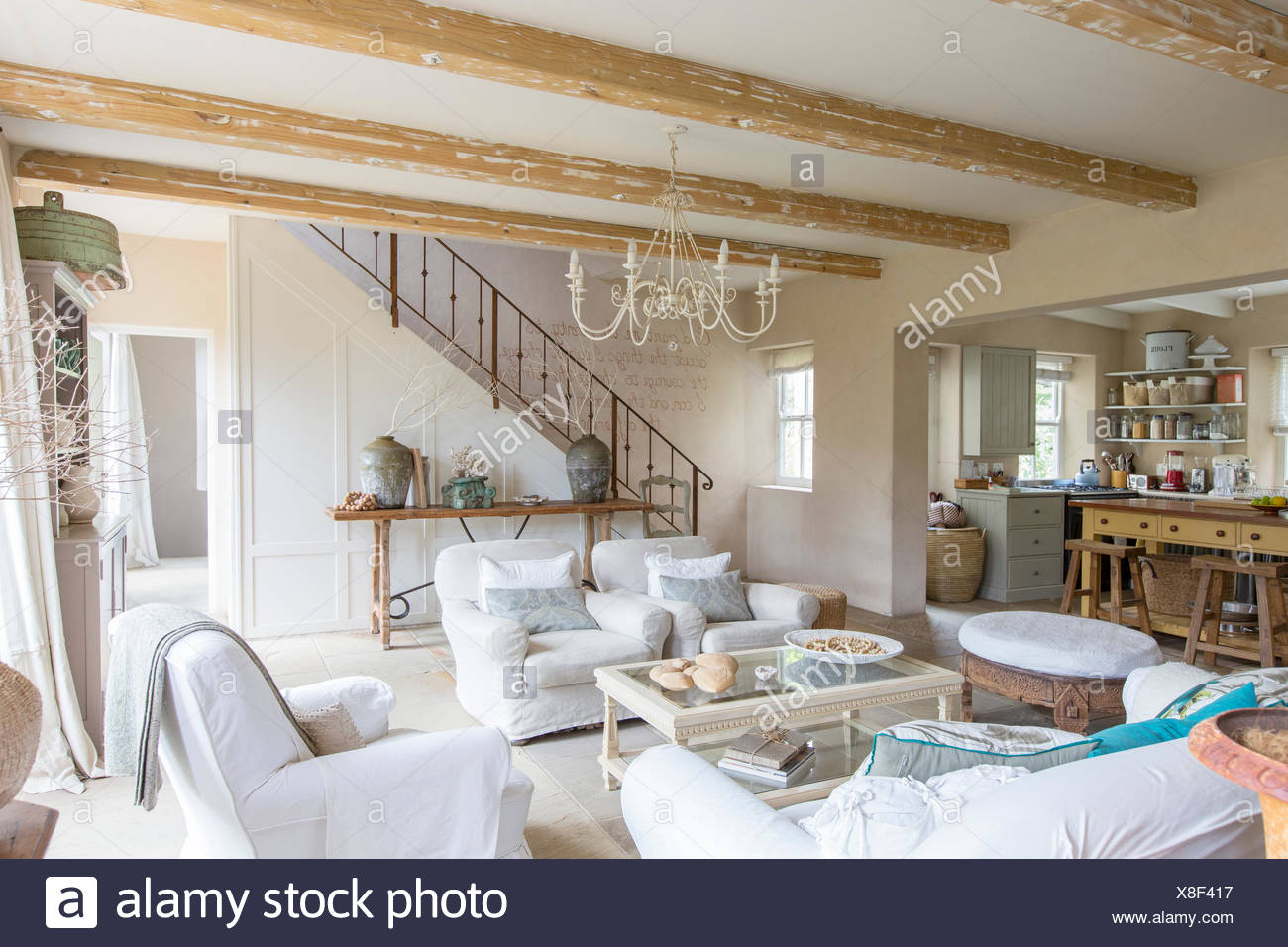 Living room of rustic house - Stock Image