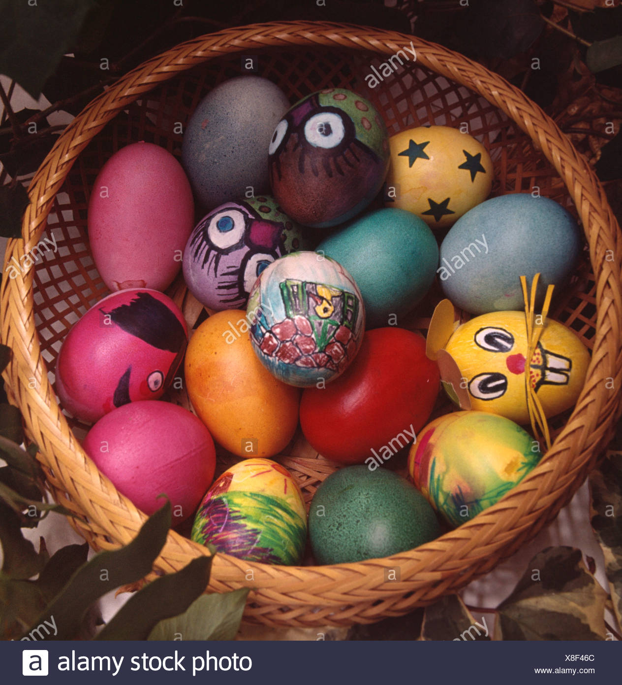 Close Up Of Basket Of Blown Eggs Decorated And Painted In