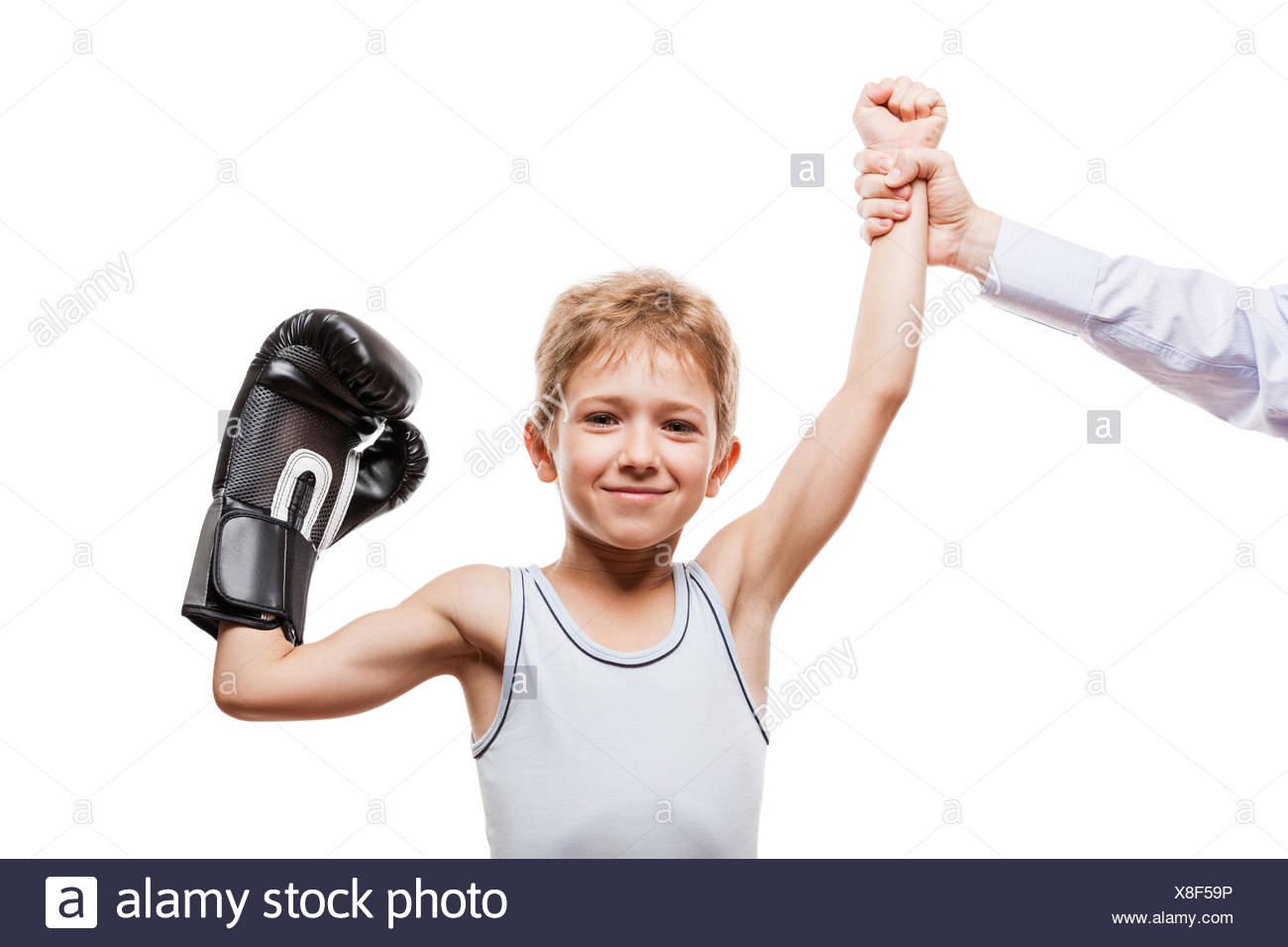 Smiling boxing champion child boy gesturing for vi - Stock Image