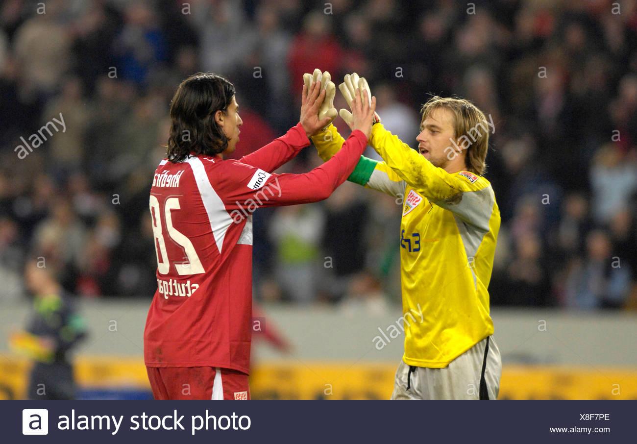 Timo HILDEBRAND and Sami KHEDIRA VfB Stuttgart celebrate victory - Stock Image